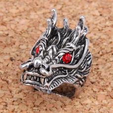 KL037-19 Кольцо большое Дракон, размер 19мм, цвет серебр.
