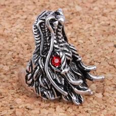KL037-20 Кольцо большое Дракон, размер 20мм, цвет серебр.