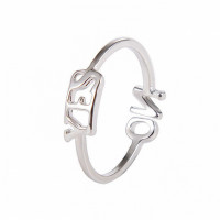 KL041-S Кольцо YES - NO безразмерное, цвет серебр.