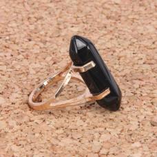 KL043-01 Кольцо с камнем Чёрный агат