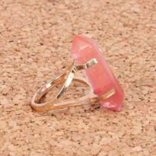 KL043-03 Кольцо с камнем Розовый халцедон