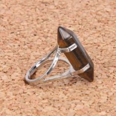 KL043-07 Кольцо с камнем Тигровый глаз