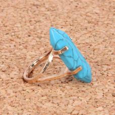 KL043-08 Кольцо с камнем Бирюза (пресс)