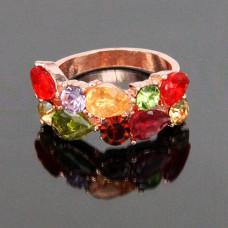 KL046 Кольцо с акриловыми вставками, цвет золот., размер 7