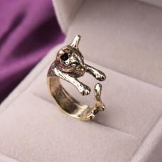 KL051 Кольцо Кошка безразмерное, цвет бронз.