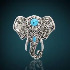 KL095 Кольцо Слон, безразмерное, цвет серебр.