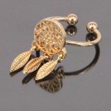 KL101-G Кольцо Ловец снов безразмерное, цвет золот.