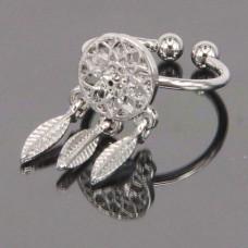 KL101-S Кольцо Ловец снов безразмерное, цвет серебр.
