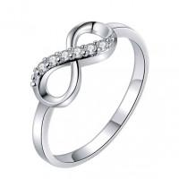 KL105-S-9 Кольцо Бесконечность, цвет серебр., размер 9