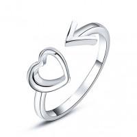 KL107-S Кольцо Сердце и стрелка, цвет серебр.