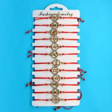 KNN003G Набор браслетов из красной нити со стразами Знаки Зодиака, 12шт, цвет золот.