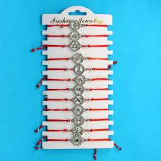 KNN003S Набор браслетов из красной нити со стразами Знаки Зодиака, 12шт, цвет серебр.