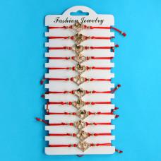 KNN004G Набор браслетов из красной нити со стразами Знаки Зодиака, 12шт, цвет золот.
