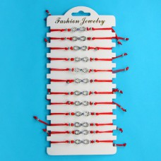 KNN005S Набор браслетов из красной нити со стразами Бесконечность с глазом, 12шт, цвет серебр.
