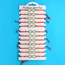 KNN006G Набор браслетов из красной нити со стразами Бесконечность, 12шт, цвет золот.