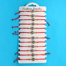 KNN007G Набор браслетов из красной нити со стразами Глаз Фатимы круглый, 12шт, цвет золот.