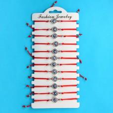 KNN007S Набор браслетов из красной нити со стразами Глаз Фатимы круглый, 12шт, цвет серебр.