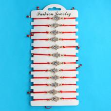 KNN008G Набор браслетов из красной нити со стразами Хамса от сглаза, 12шт, цвет золот.