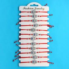KNN009S Набор браслетов из красной нити со стразами Хамса от сглаза, 12шт, цвет серебр.