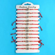 KNN010G Набор браслетов из красной нити со стразами Глаз Фатимы, 12шт, цвет золот.