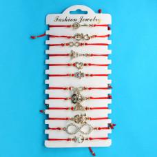 KNN012G Набор браслетов из красной нити со стразами Ассорти Романтика, 12шт, цвет золот.