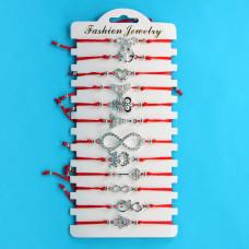 KNN012S Набор браслетов из красной нити со стразами Ассорти Романтика, 12шт, цвет серебр.