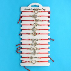 KNN013G Набор браслетов из красной нити со стразами Ассорти №1, 12шт, цвет золот.
