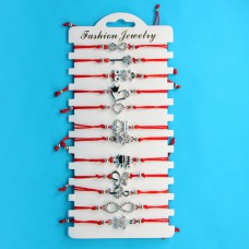 KNN014S Набор браслетов из красной нити со стразами Ассорти №2, 12шт, цвет серебр.