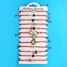 KNN015G Набор браслетов из красной нити в ассортименте Ассорти №3, 12шт, цвет золот.