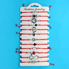 KNN015S Набор браслетов из красной нити в ассортименте Ассорти №3, 12шт, цвет серебр.