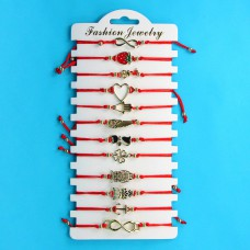 KNN016G Набор браслетов из красной нити в ассортименте Ассорти №4, 12шт, цвет золот.