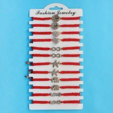 KNN019 Набор плетёных браслетов из красной нити со стразами Ассорти №5, 12шт, цвет золот.