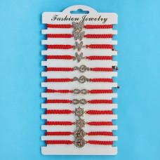 KNN020 Набор плетёных браслетов из красной нити со стразами Ассорти №5, 12шт, цвет золот.