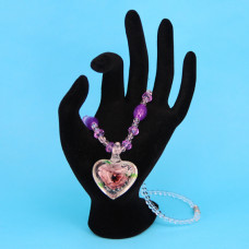 LGK008-3 Стеклянные бусы со светящимся кулоном, цвет фиолетовый