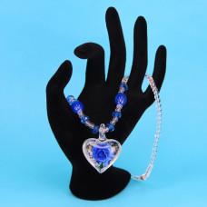 LGK008-5 Стеклянные бусы со светящимся кулоном, цвет синий