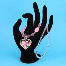 LGK008-6 Стеклянные бусы со светящимся кулоном, цвет розовый