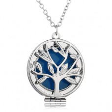 LGK012 Светящийся кулон - аромамедальон с цепочкой Дерево 27мм, цвет серебр.