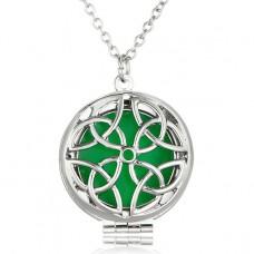 LGK014 Светящийся кулон - аромамедальон с цепочкой Кельтские узлы 27мм, цвет серебр.