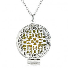 LGK016 Светящийся кулон - аромамедальон с цепочкой Мандала 27мм, цвет серебр.