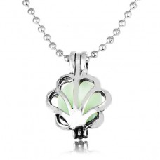 LGK019 Миниатюрный светящийся кулон - аромамедальон с цепочкой Жемчужница 16х12мм, цвет серебр.