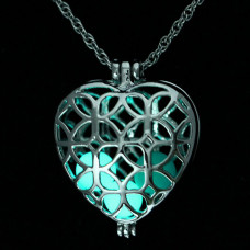 LGK022 Большой светящийся кулон - аромамедальон с цепочкой Сердце 40х33мм, цвет серебр.