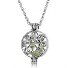 LGK023 Светящийся кулон - аромамедальон с цепочкой 26х19мм, цвет серебр.