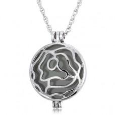 LGK026 Светящийся кулон - аромамедальон с цепочкой Роза 37х28мм, цвет серебр.
