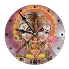 MCH002 Часы настенные Шива, Парвати, Ганеш 20см, пластик
