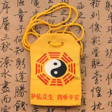 MESH003 Буддийский мешочек Инь-Ян 7х5см жёлтый