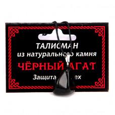 MK017 Талисман из натурального камня Чёрный агат со шнурком