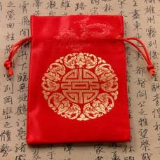 MS010 Парчовый мешочек Символ Пяти Благ 10х14см красный