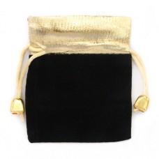MS016BK Мешочек бархатный 7х9см чёрно-золотой
