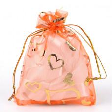 MS018-06 Мешочек из органзы Сердечки 10х12см, цвет оранжевый