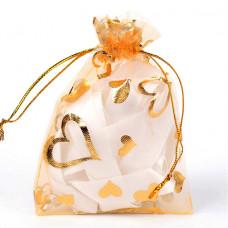MS018-07 Мешочек из органзы Сердечки 10х12см, цвет светло-оранжевый